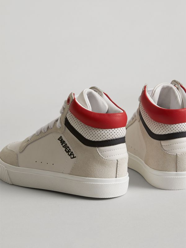 Leather and Suede High-top Sneakers in Optic White | Burberry - cell image 3