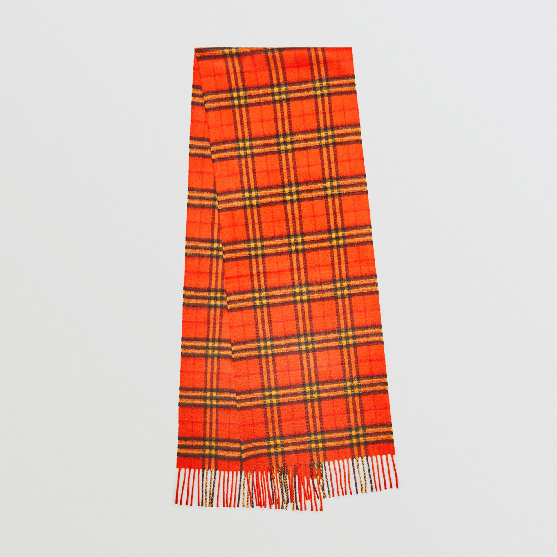 The Classic Vintage Check Cashmere Scarf in Orange | Burberry United Kingdom - gallery image 0