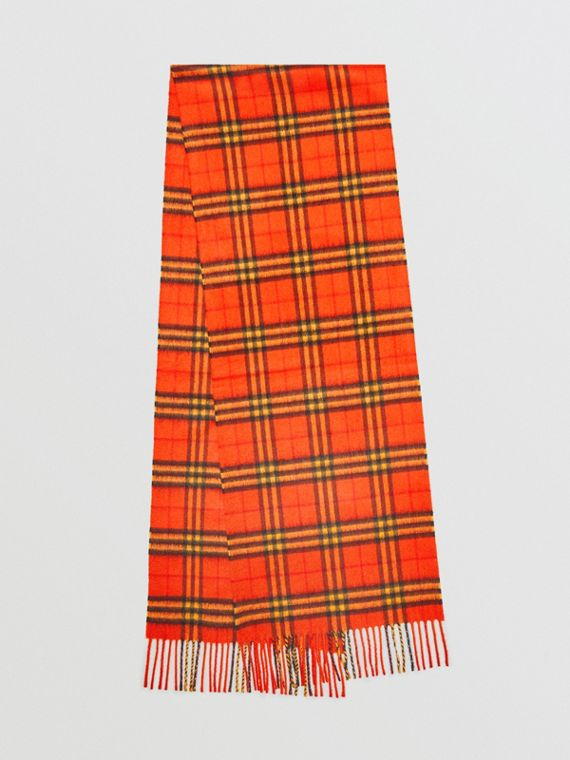 The Classic Vintage Check Cashmere Scarf in Orange