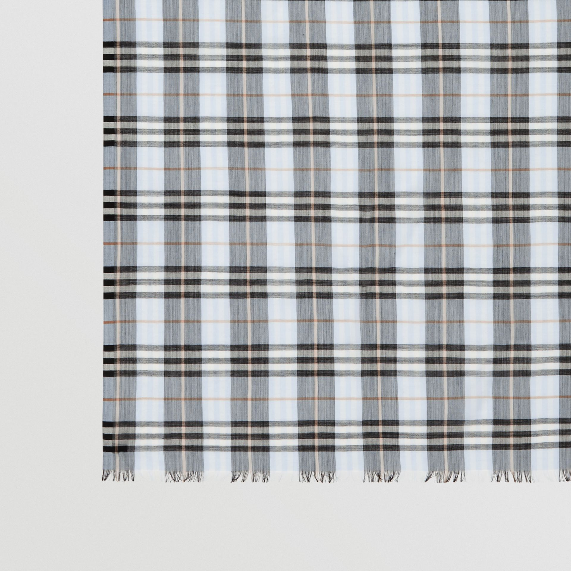 Vintage Check Lightweight Wool Silk Scarf in Pale Blue | Burberry - gallery image 1