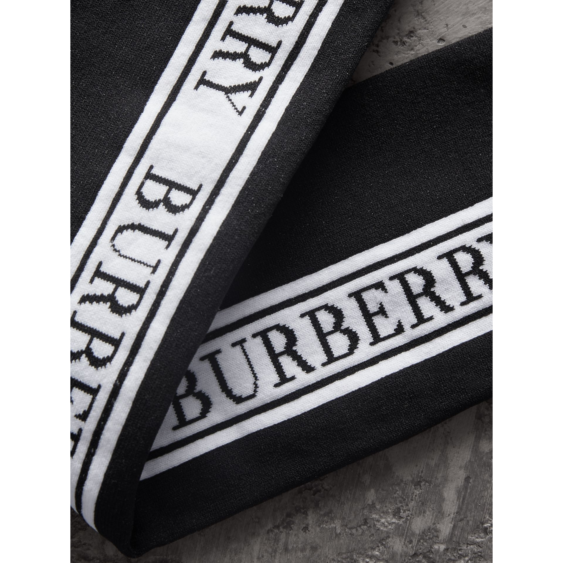 Logo Technical Knit Long Socks in Black - Women | Burberry - gallery image 1