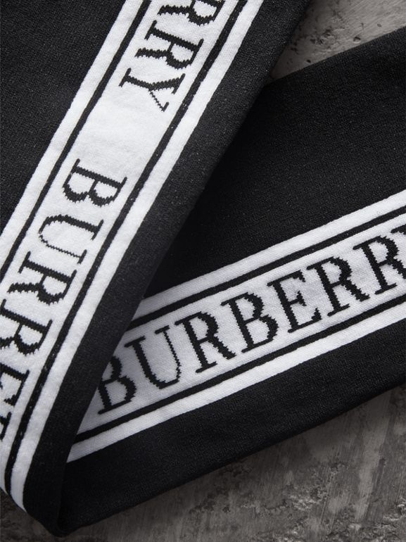 Logo Technical Knit Long Socks in Black - Women | Burberry United Kingdom - cell image 1