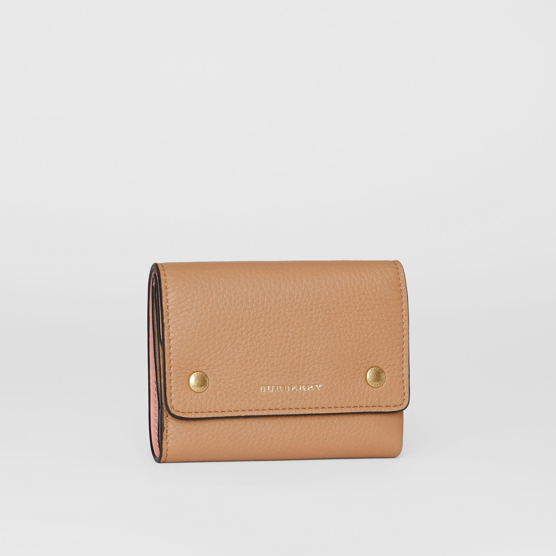 Small Leather Folding Wallet in Light Camel - Women | Burberry - gallery image 4
