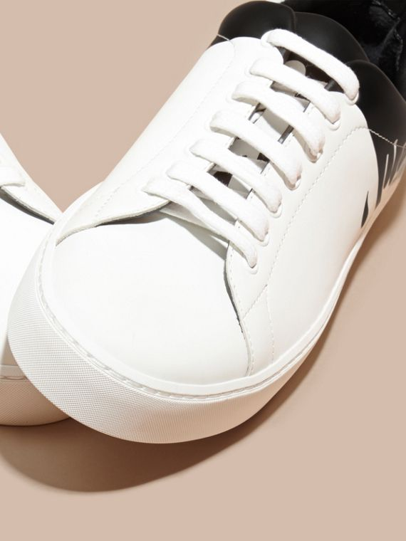 Optic white Splash Motif Leather Trainers - cell image 2