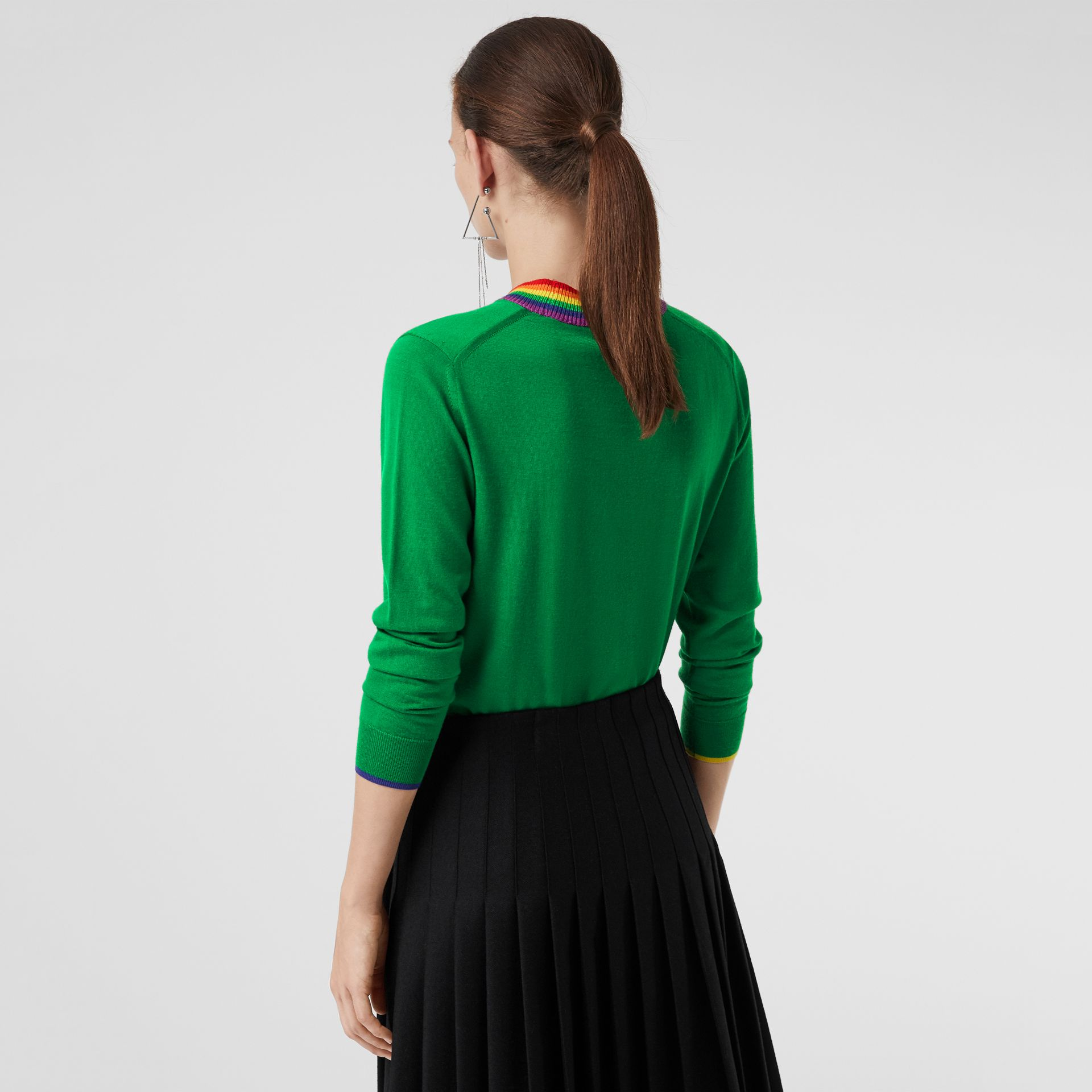 Stripe Detail Wool Sweater in Bright Green - Women | Burberry - gallery image 2