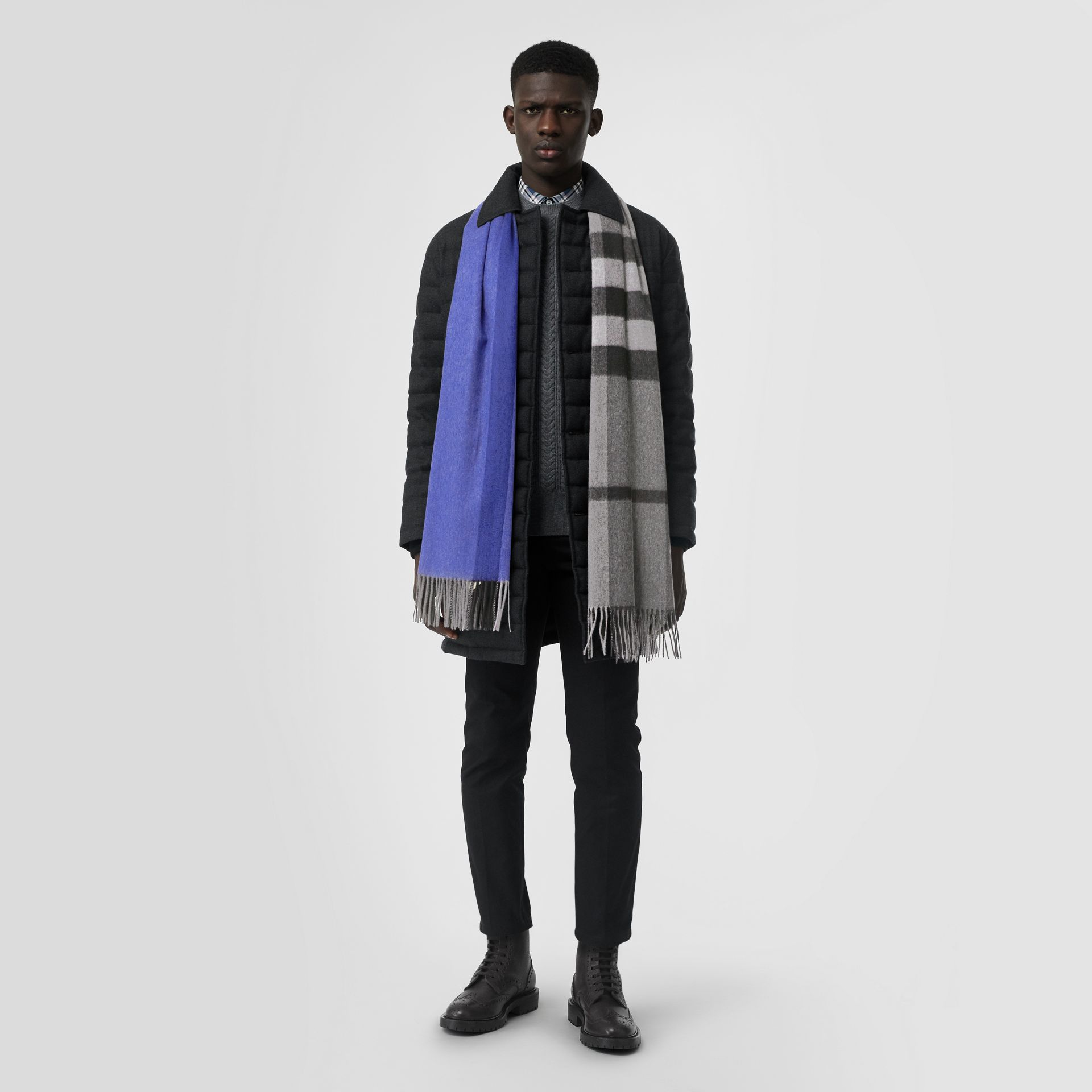 Colour Block Check Cashmere Scarf in Bright Cobalt | Burberry United Kingdom - gallery image 3