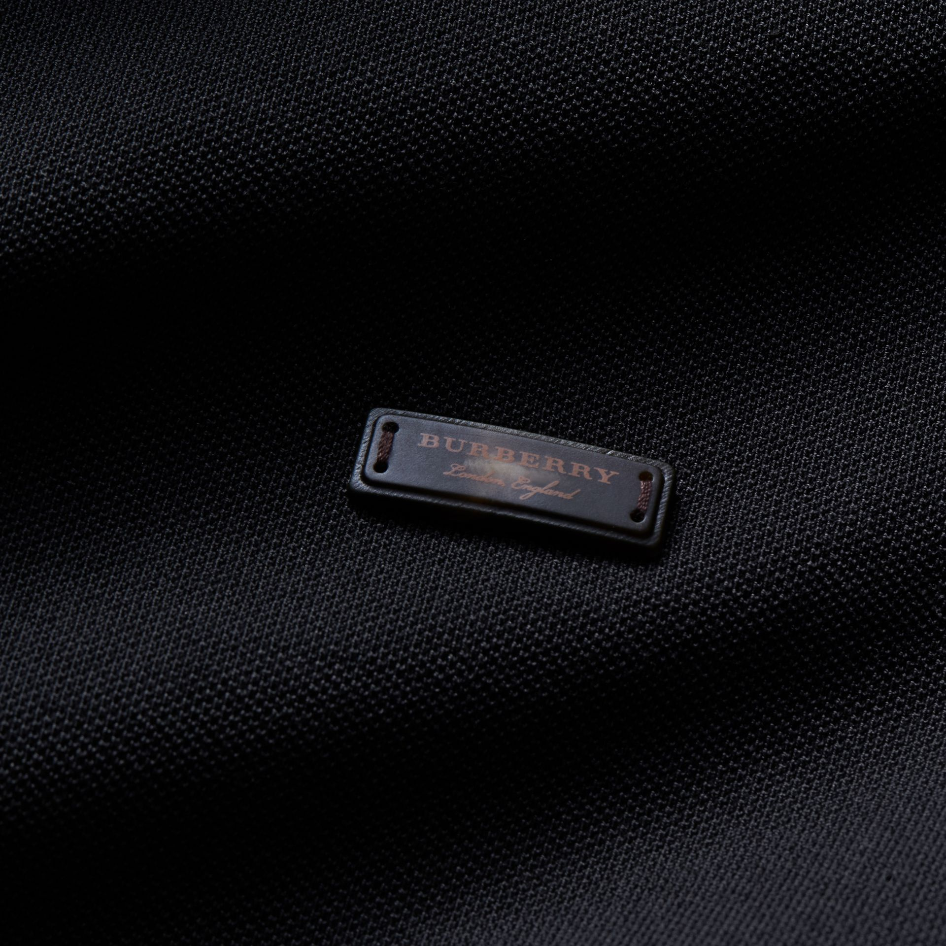 Long-sleeved Tipped Cotton Piqué Polo Shirt Black - gallery image 2