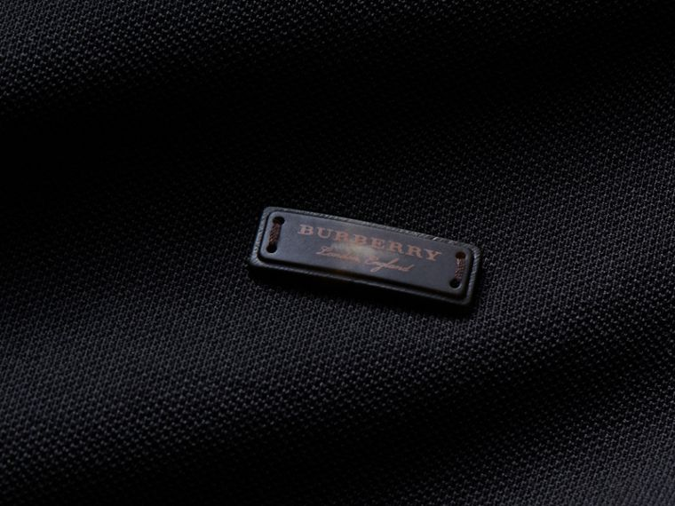 Long-sleeved Tipped Cotton Piqué Polo Shirt Black - cell image 1