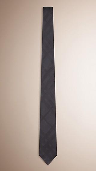 Gravata slim de seda com padrão xadrez