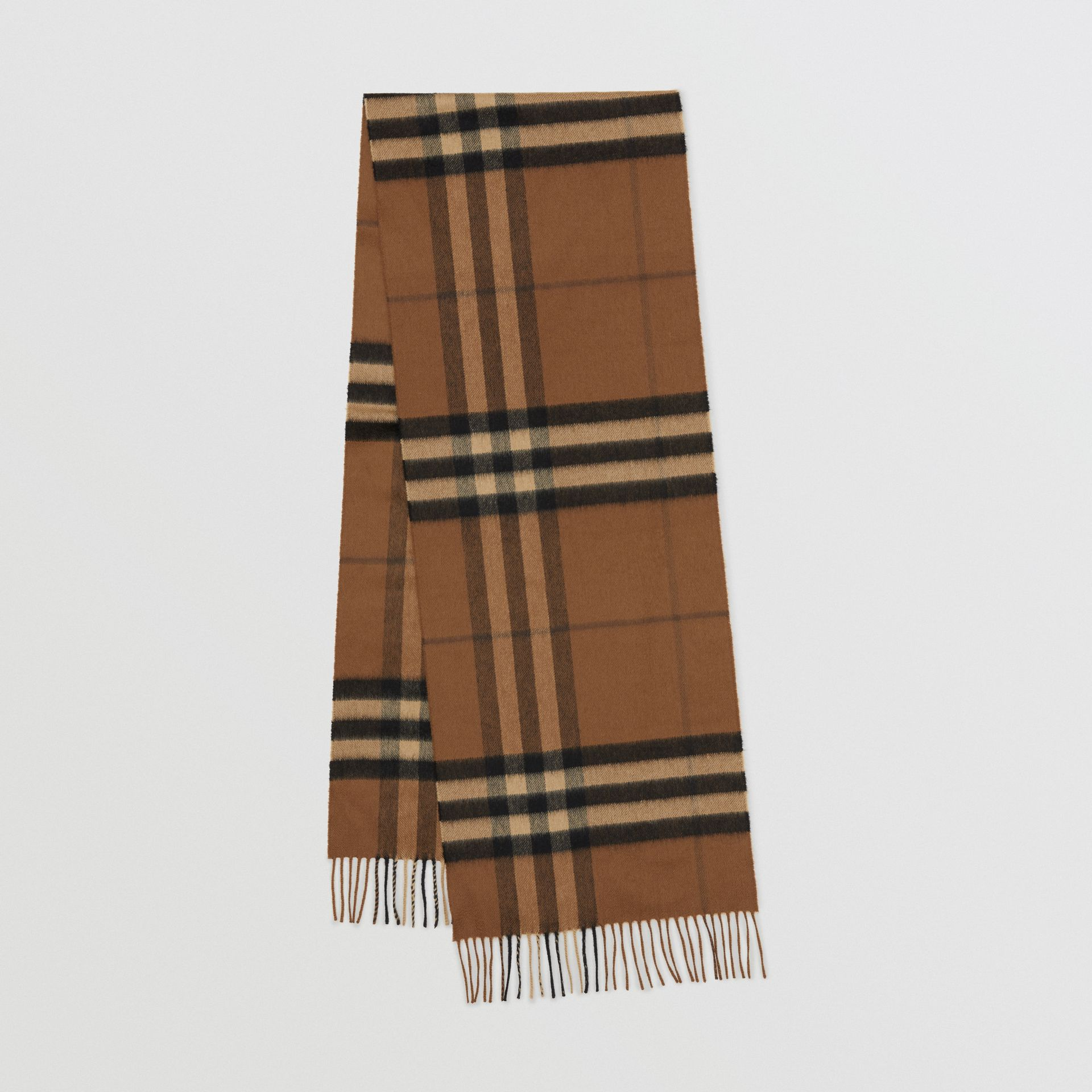 The Classic Check Cashmere Scarf in Bridle Brown | Burberry United States - gallery image 0