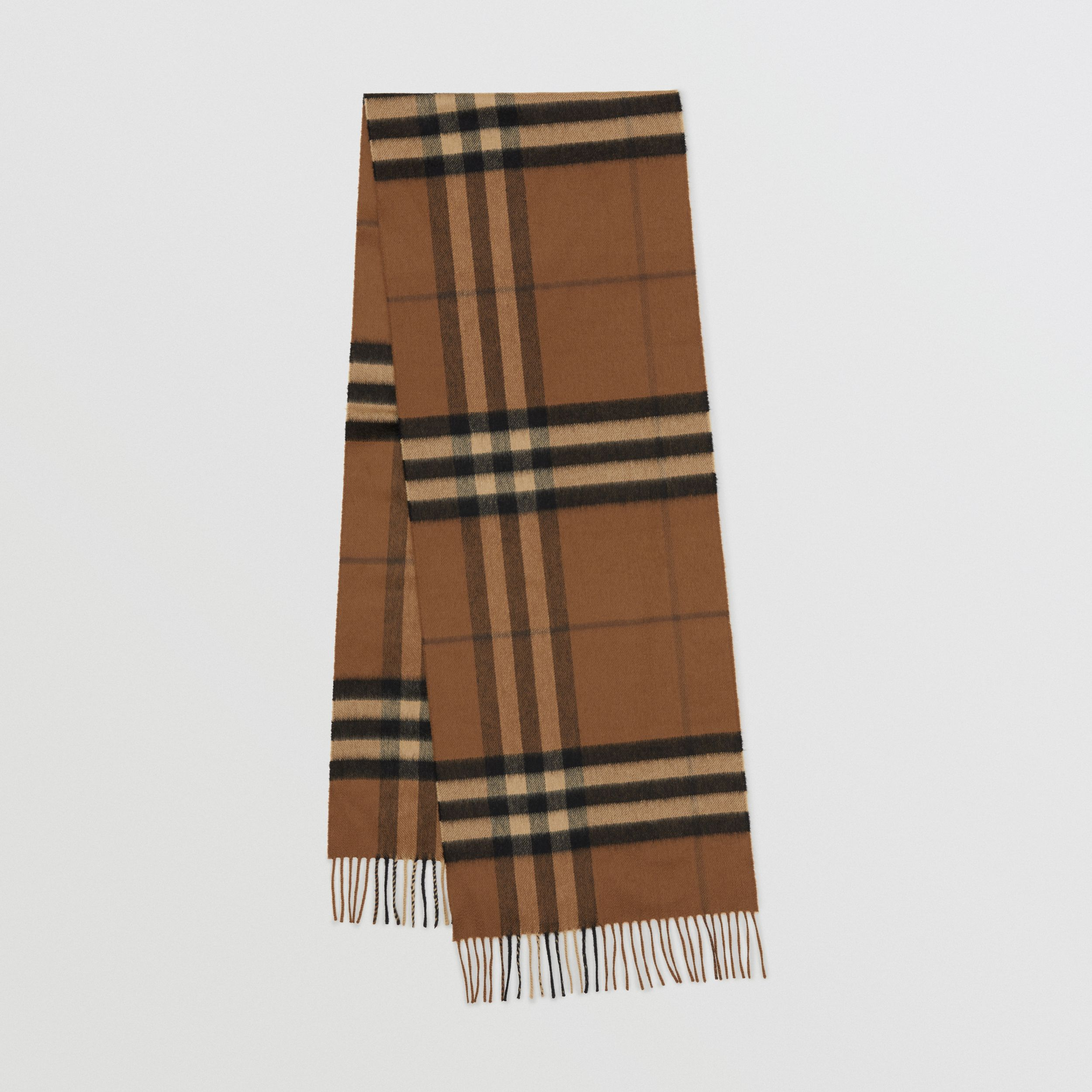 The Classic Check Cashmere Scarf in Bridle Brown | Burberry United Kingdom - 1