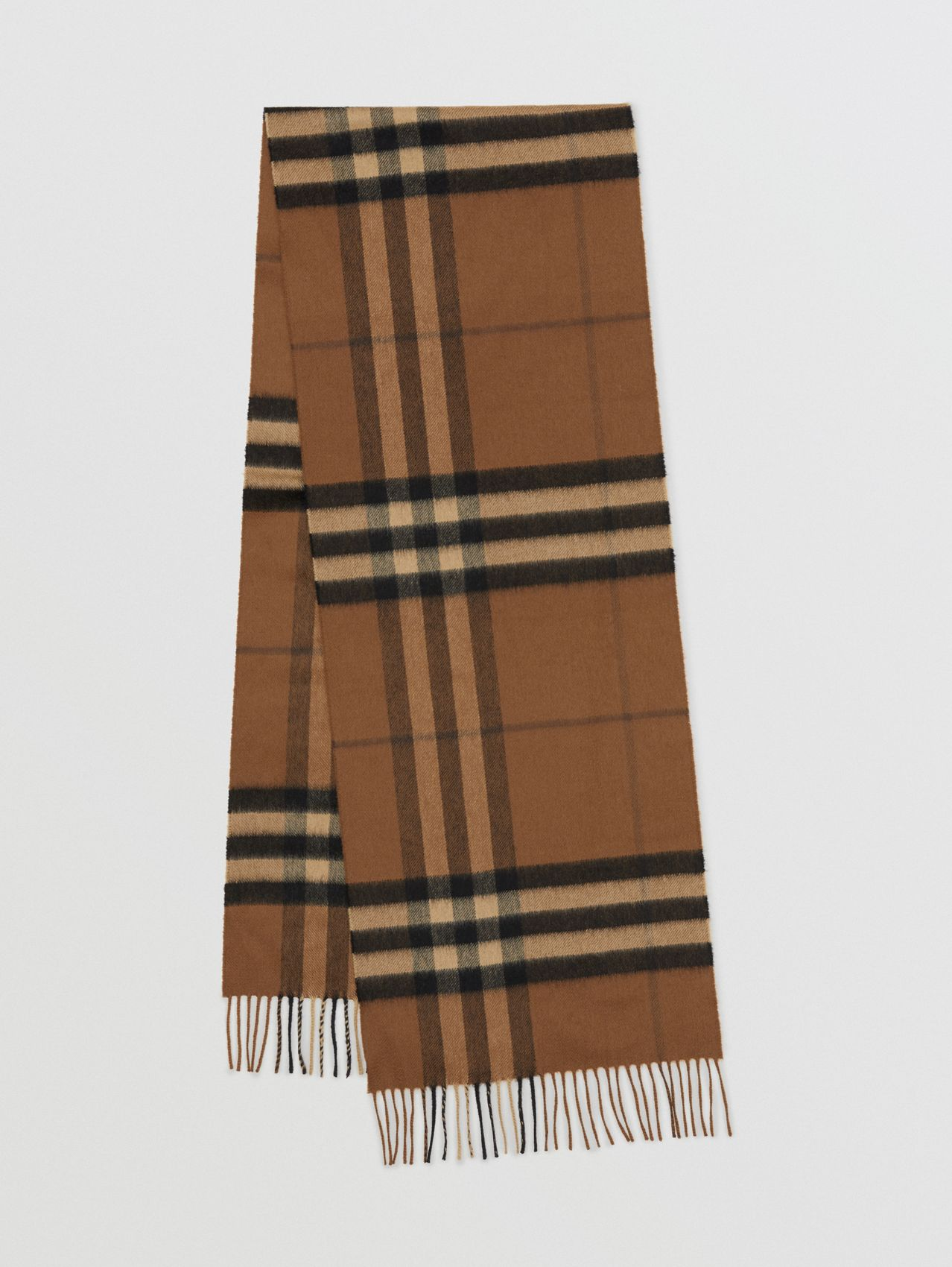 The Classic Check Cashmere Scarf (Bridle Brown)