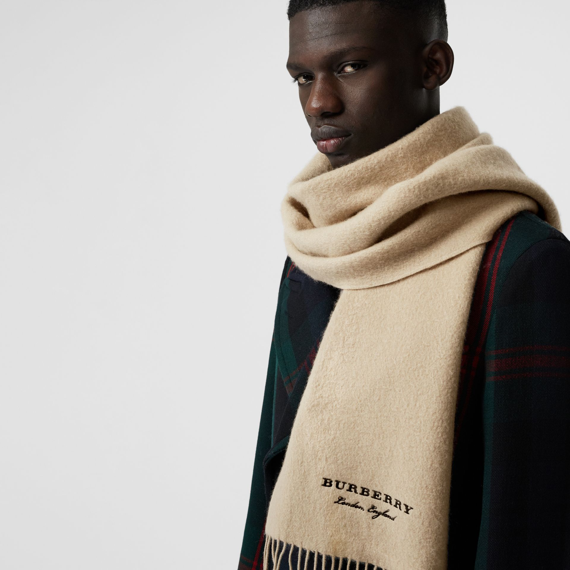 Embroidered Cashmere Fleece Scarf in Pale Nude | Burberry United Kingdom - gallery image 6