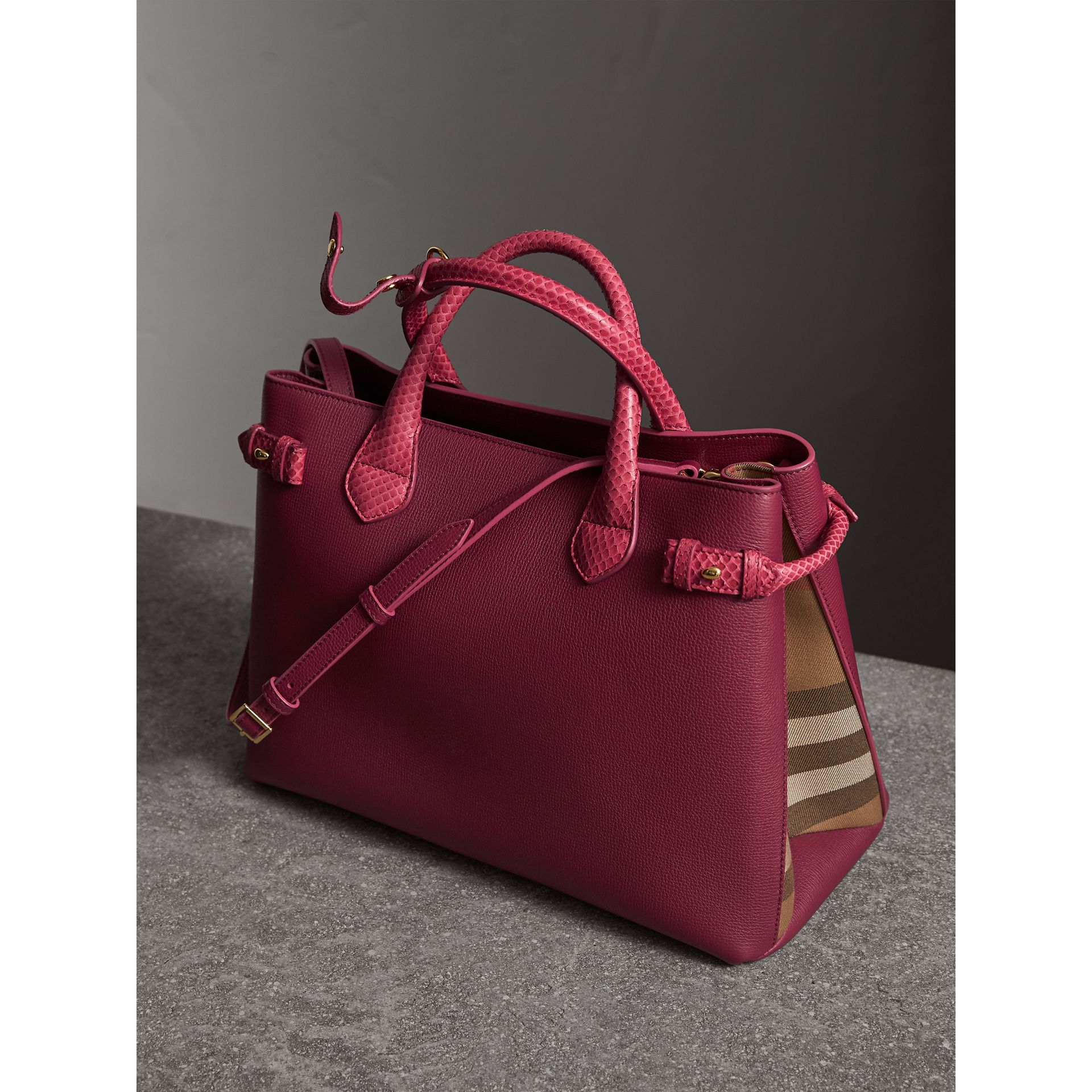 The Medium Banner in Leather and Snakeskin in Berry Pink - Women | Burberry - gallery image 4