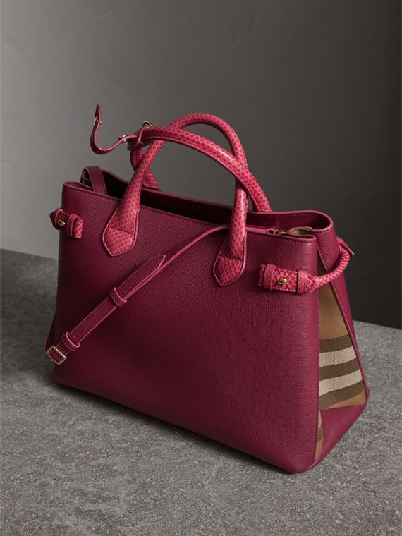 The Medium Banner in Leather and Snakeskin in Berry Pink - Women | Burberry - cell image 2