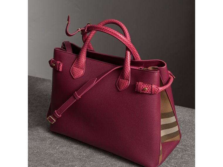 The Medium Banner in Leather and Snakeskin in Berry Pink - Women | Burberry - cell image 4