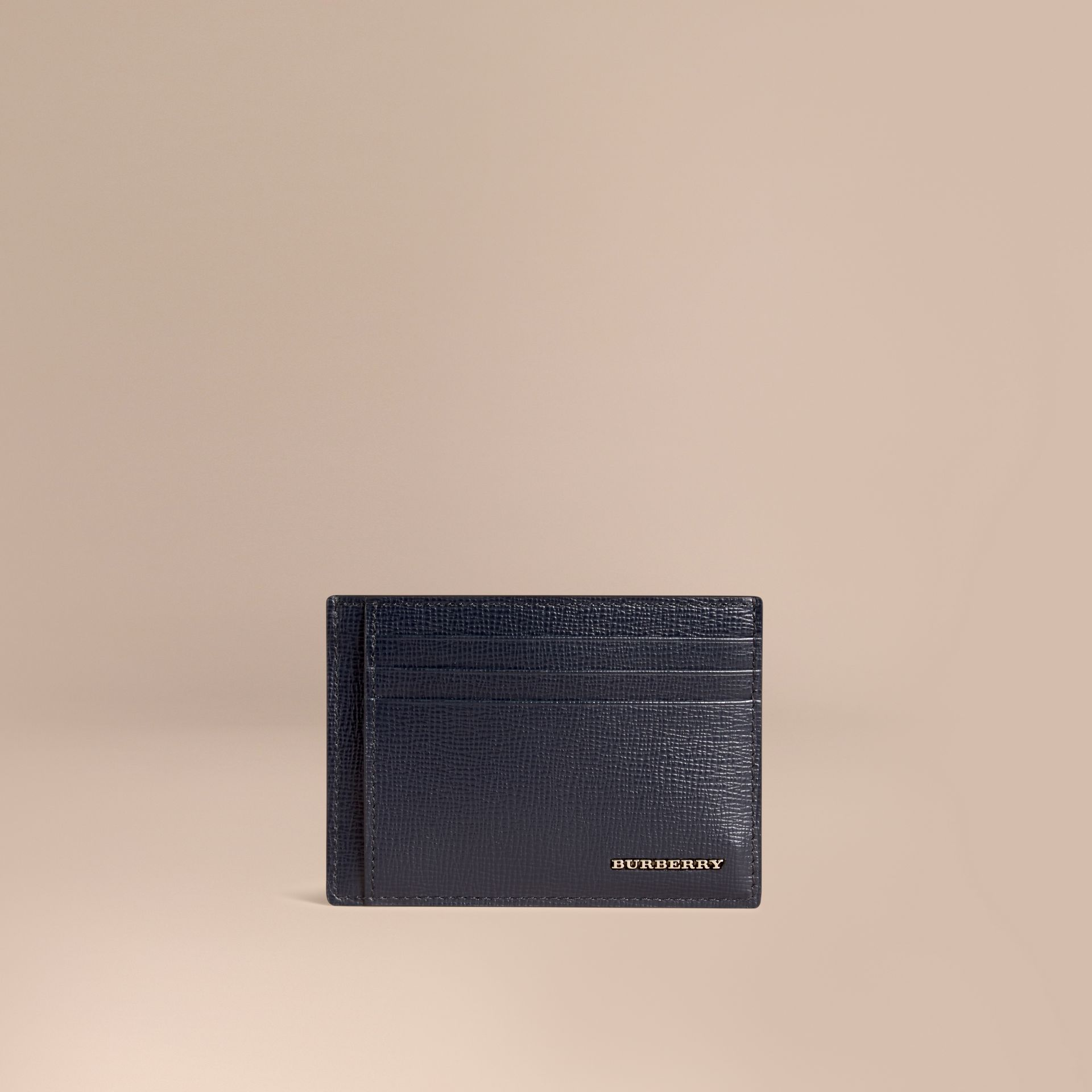London Leather Money Clip Card Case in Dark Navy - Men | Burberry - gallery image 1