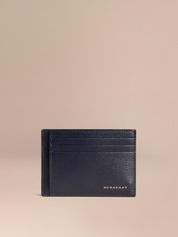 London Leather Money Clip Card Case Dark Navy