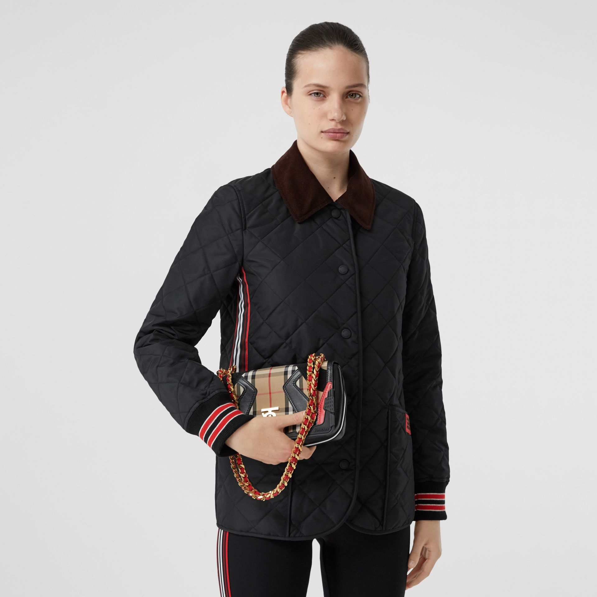 Striped Trim Diamond Quilted Barn Jacket in Black - Women | Burberry - gallery image 5