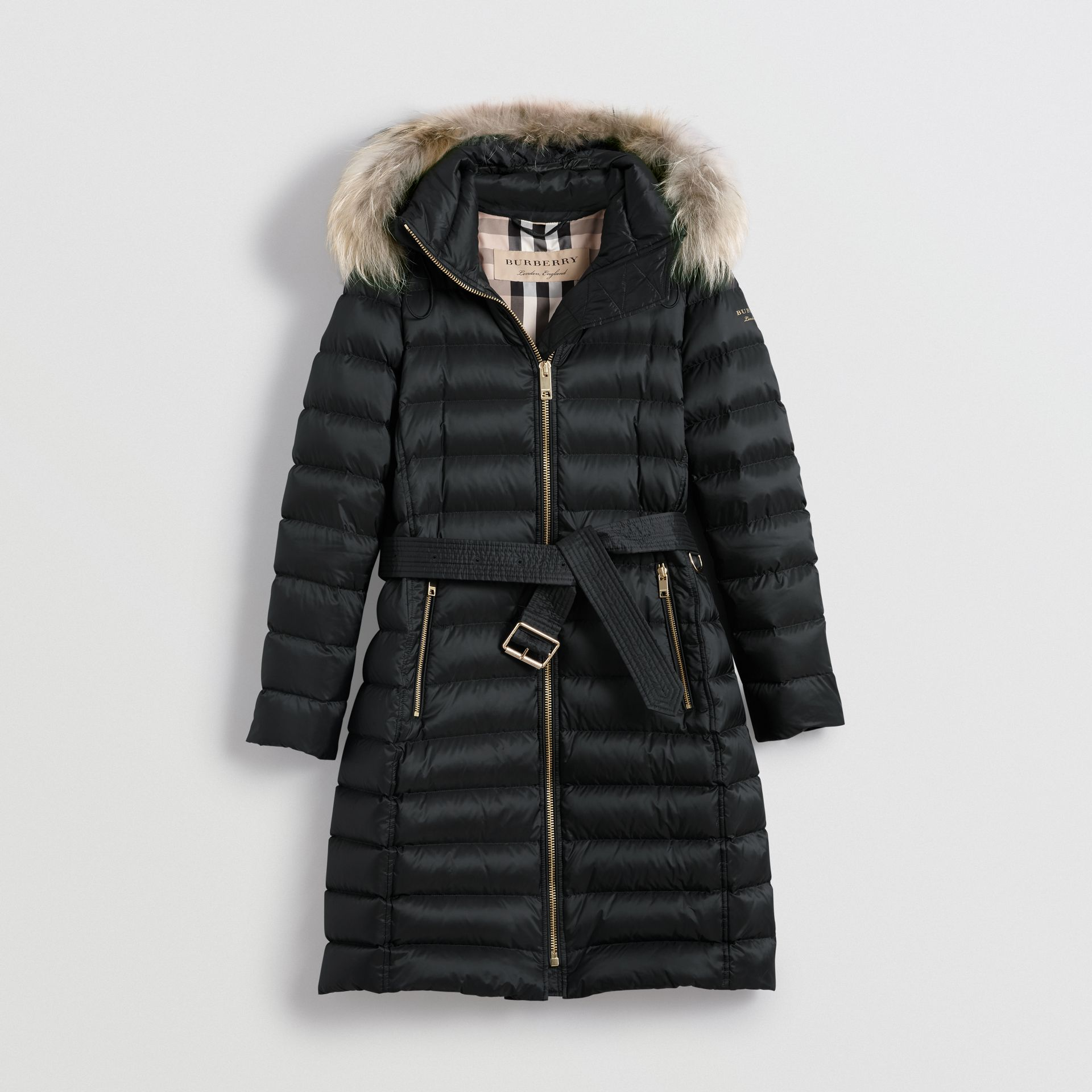 Detachable Fur Trim Down-filled Puffer Coat with Hood in Black - Women | Burberry United States - gallery image 3