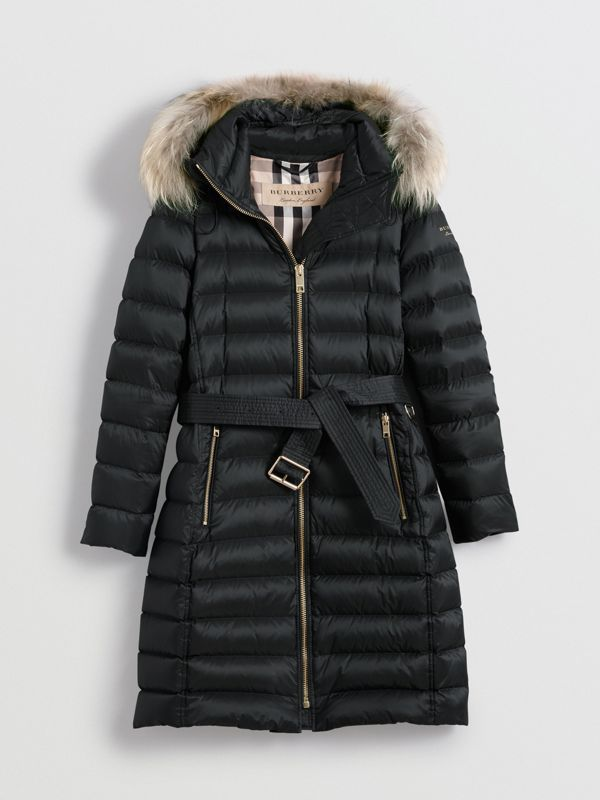 Detachable Fur Trim Down-filled Puffer Coat with Hood in Black - Women | Burberry United States - cell image 3