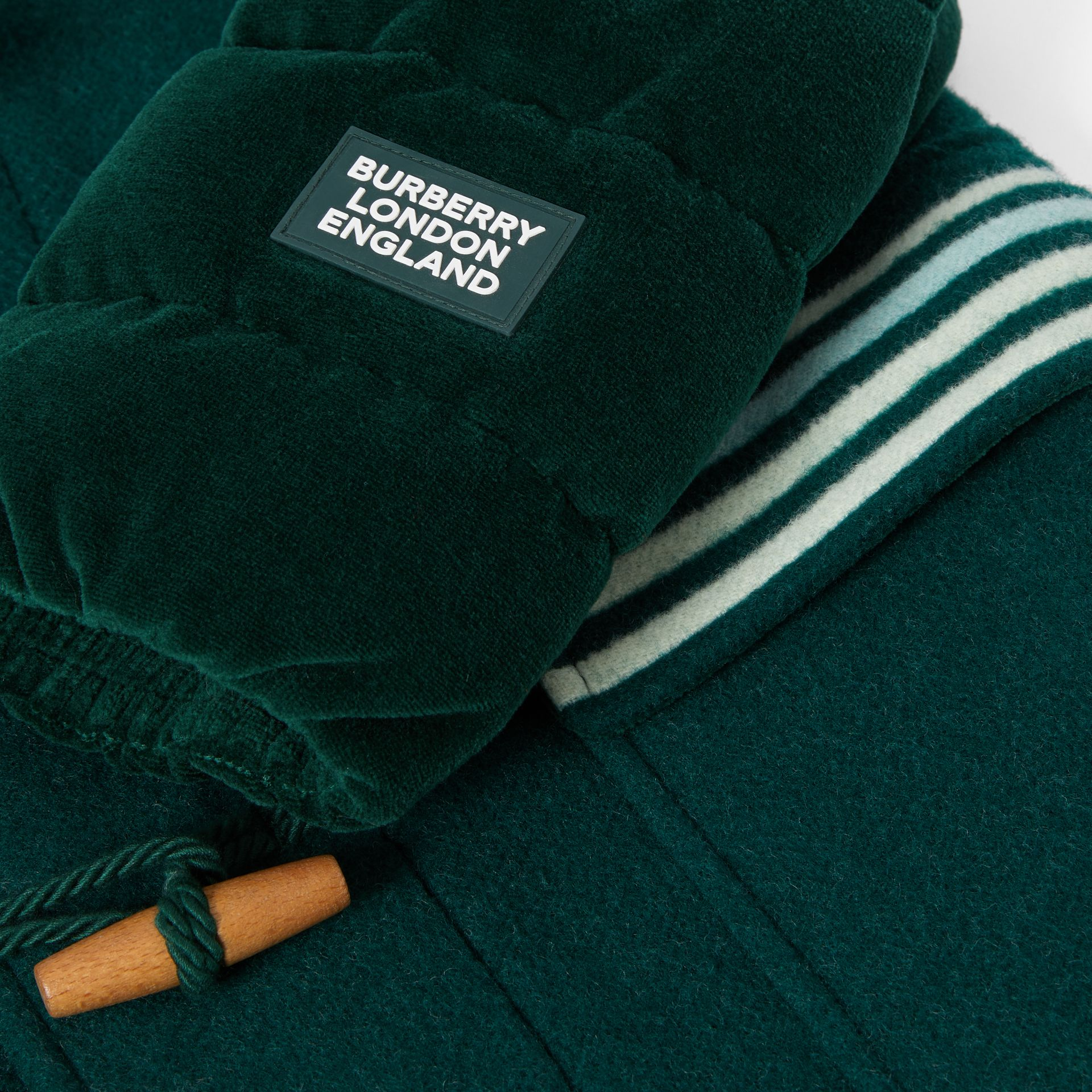Velvet Puffer Detail Wool Duffle Coat in Dark Pine Green | Burberry - gallery image 1