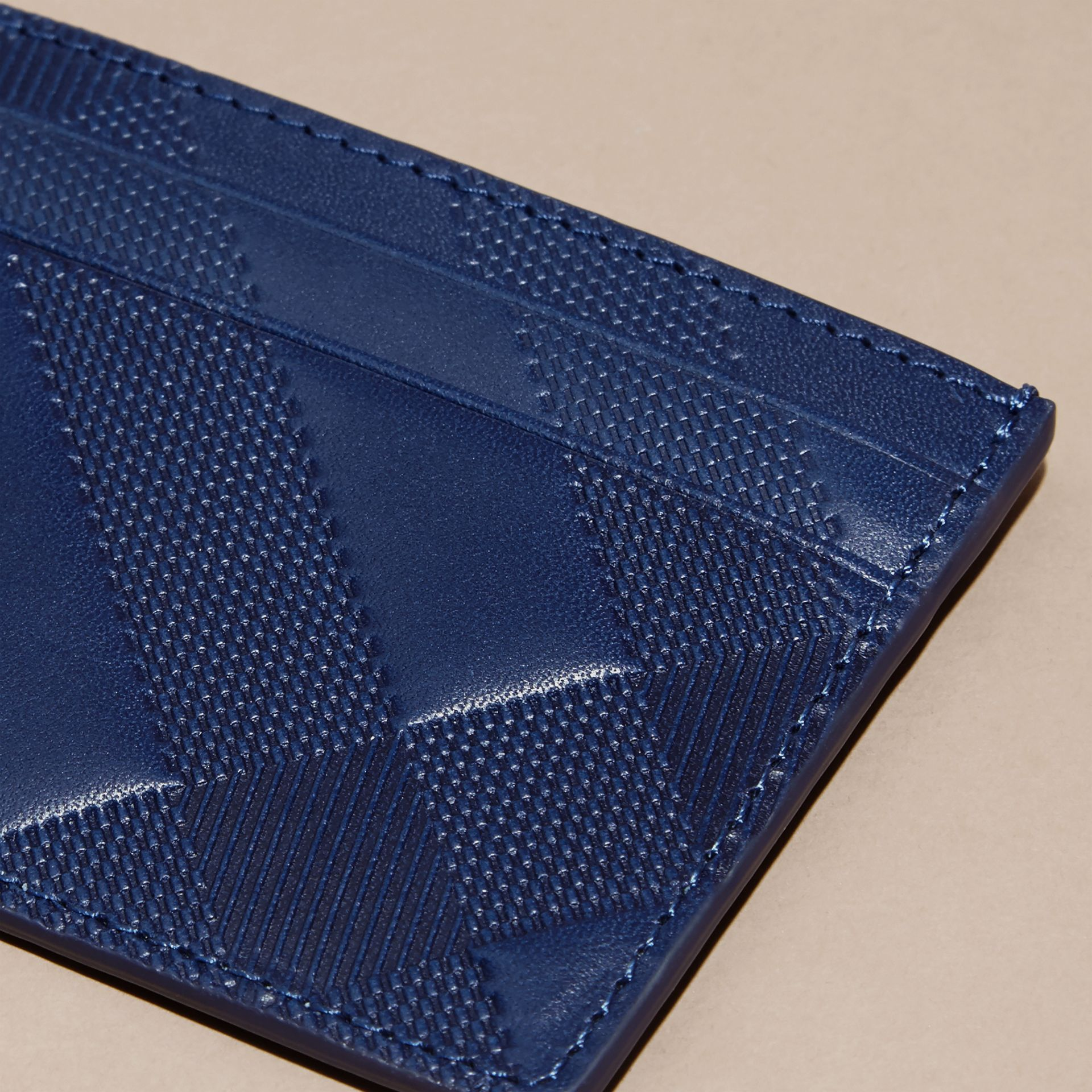 Lapis blue Check Embossed Leather Card Case Lapis Blue - gallery image 2