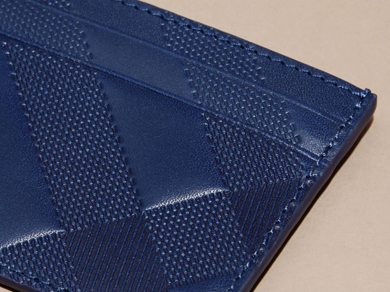 Lapis blue Check Embossed Leather Card Case Lapis Blue - cell image 1