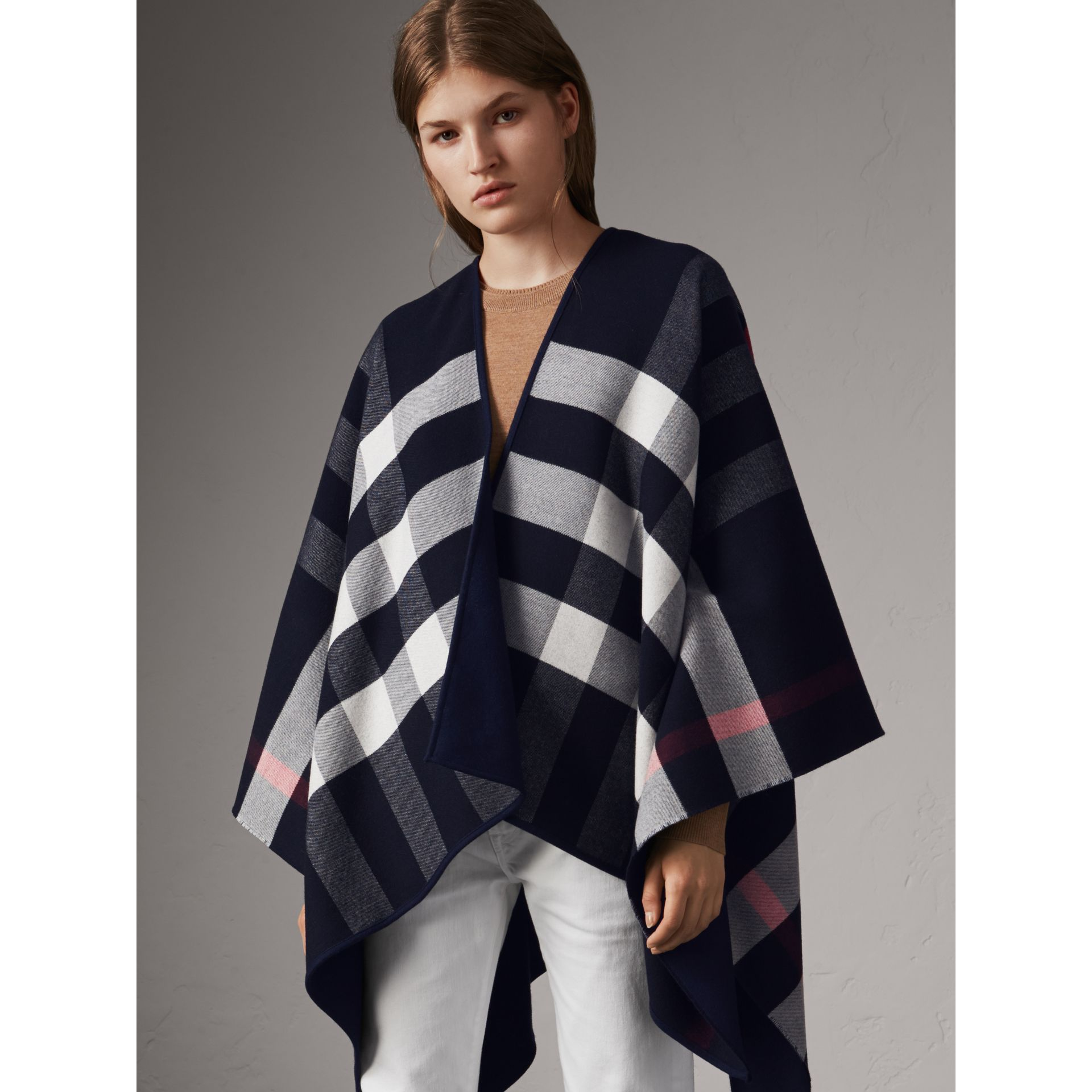 Reversible Check Merino Wool Poncho in Navy - Women | Burberry - gallery image 5