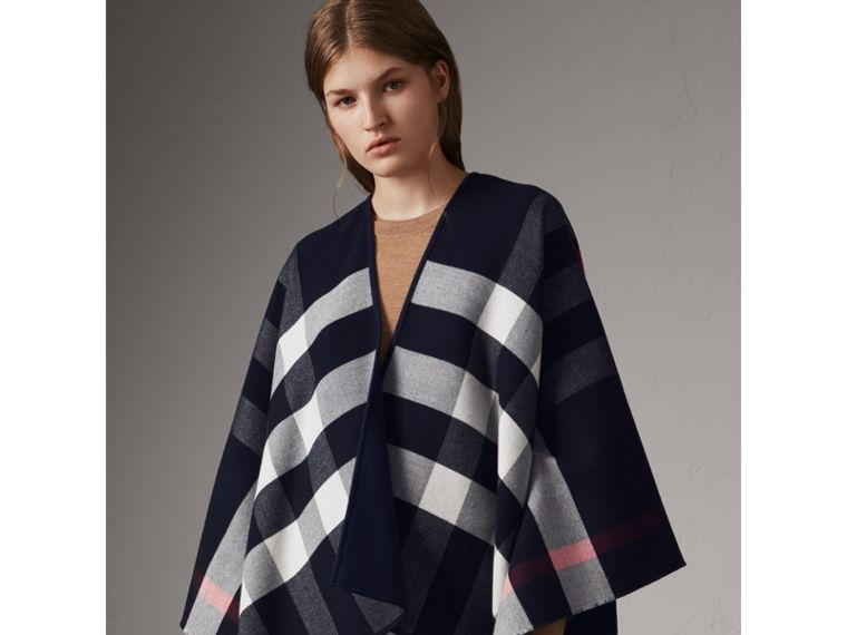 Reversible Check Merino Wool Poncho in Navy - Women | Burberry - cell image 4