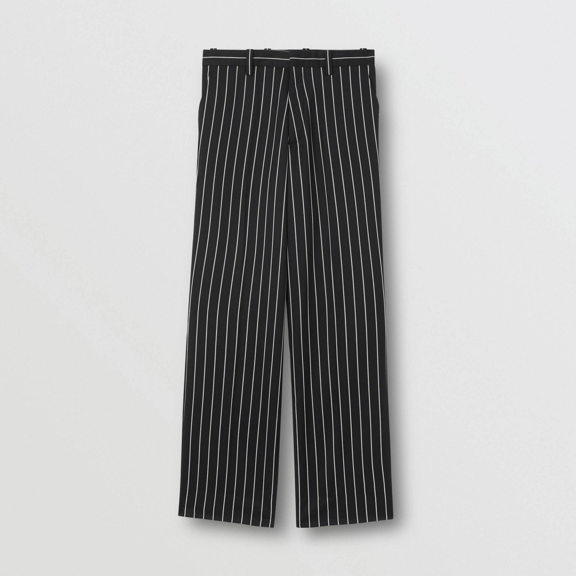 Pantalon de costume ample en laine stretch à fines rayures (Noir) - Homme | Burberry Canada - photo de la galerie 3