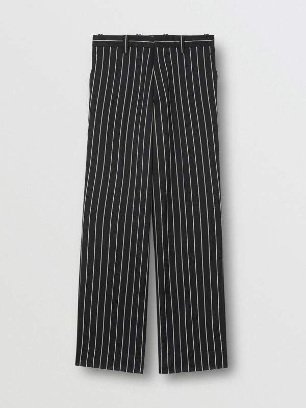 Pinstriped Stretch Wool Wide-leg Tailored Trousers in Black - Men | Burberry United Kingdom - cell image 3