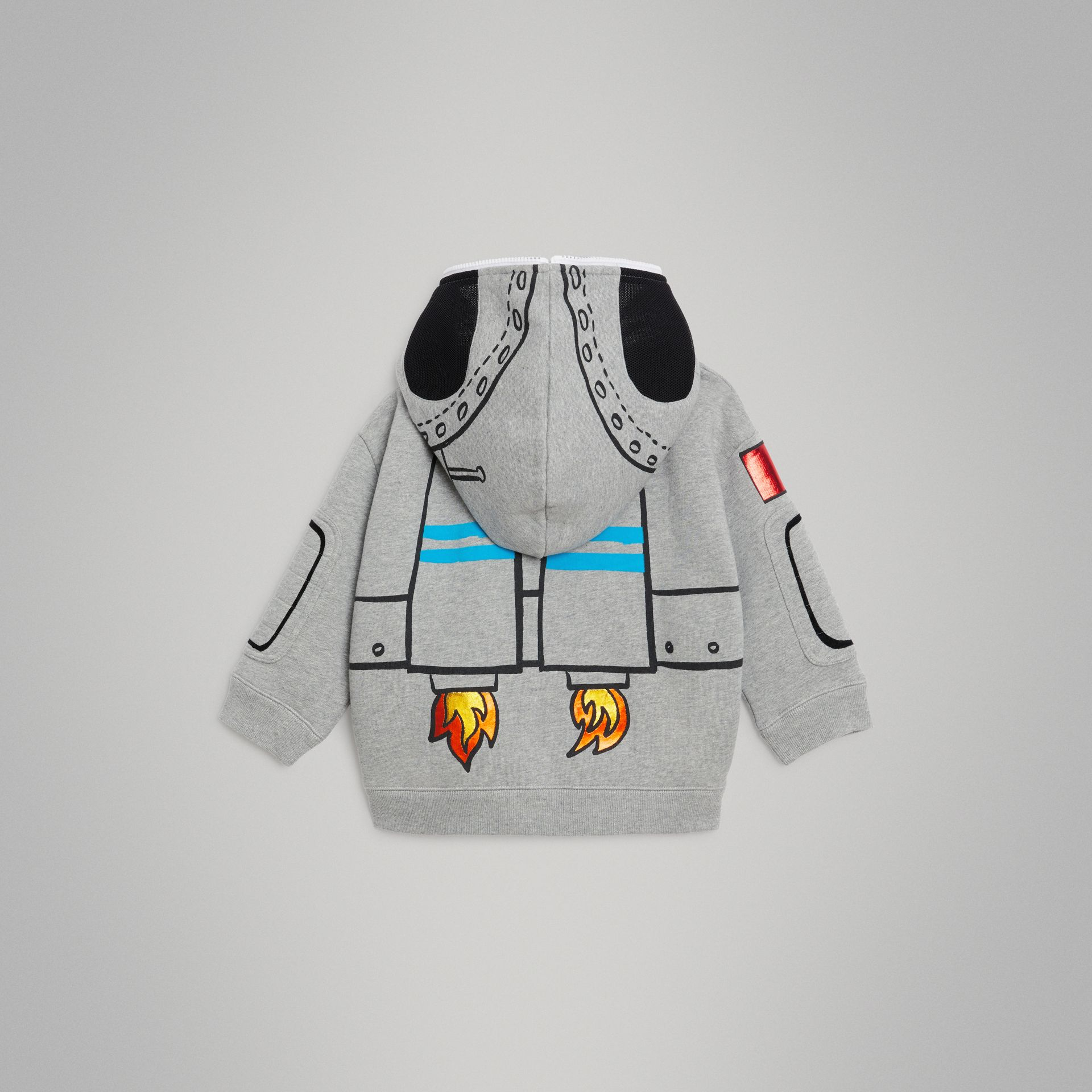 Astronaut Print Jersey Hooded Top in Grey Melange | Burberry - gallery image 3