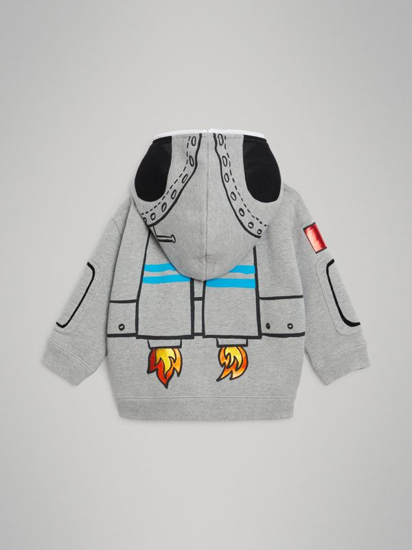 Astronaut Print Jersey Hooded Top in Grey Melange | Burberry Australia - cell image 3