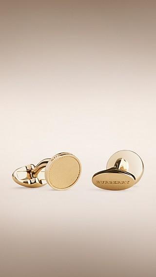 Gabardine Engraved Round Cufflinks