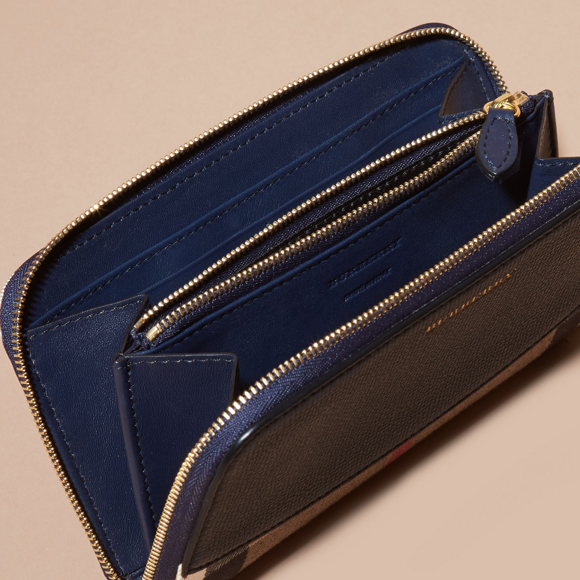 House Check and Leather Ziparound Wallet Ink Blue - gallery image 5