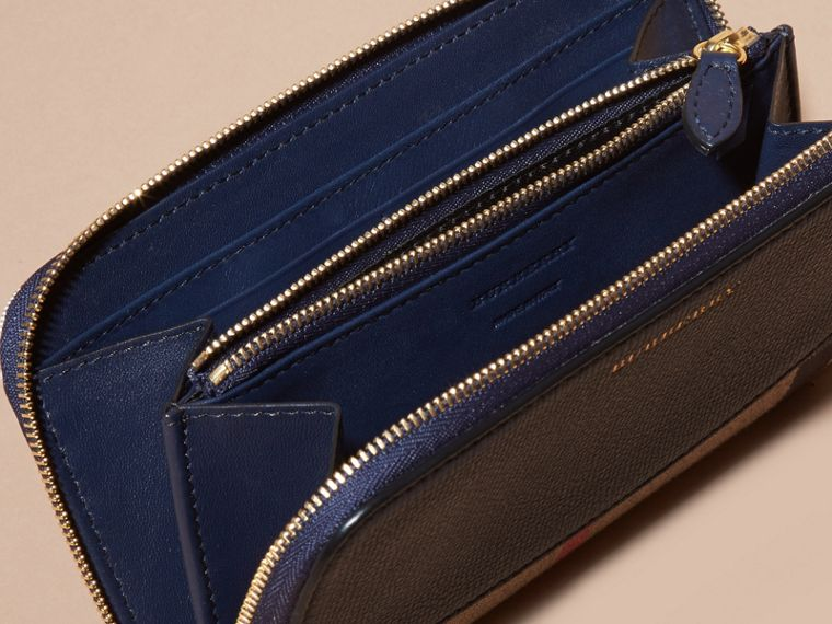 House Check and Leather Ziparound Wallet in Ink Blue - cell image 4