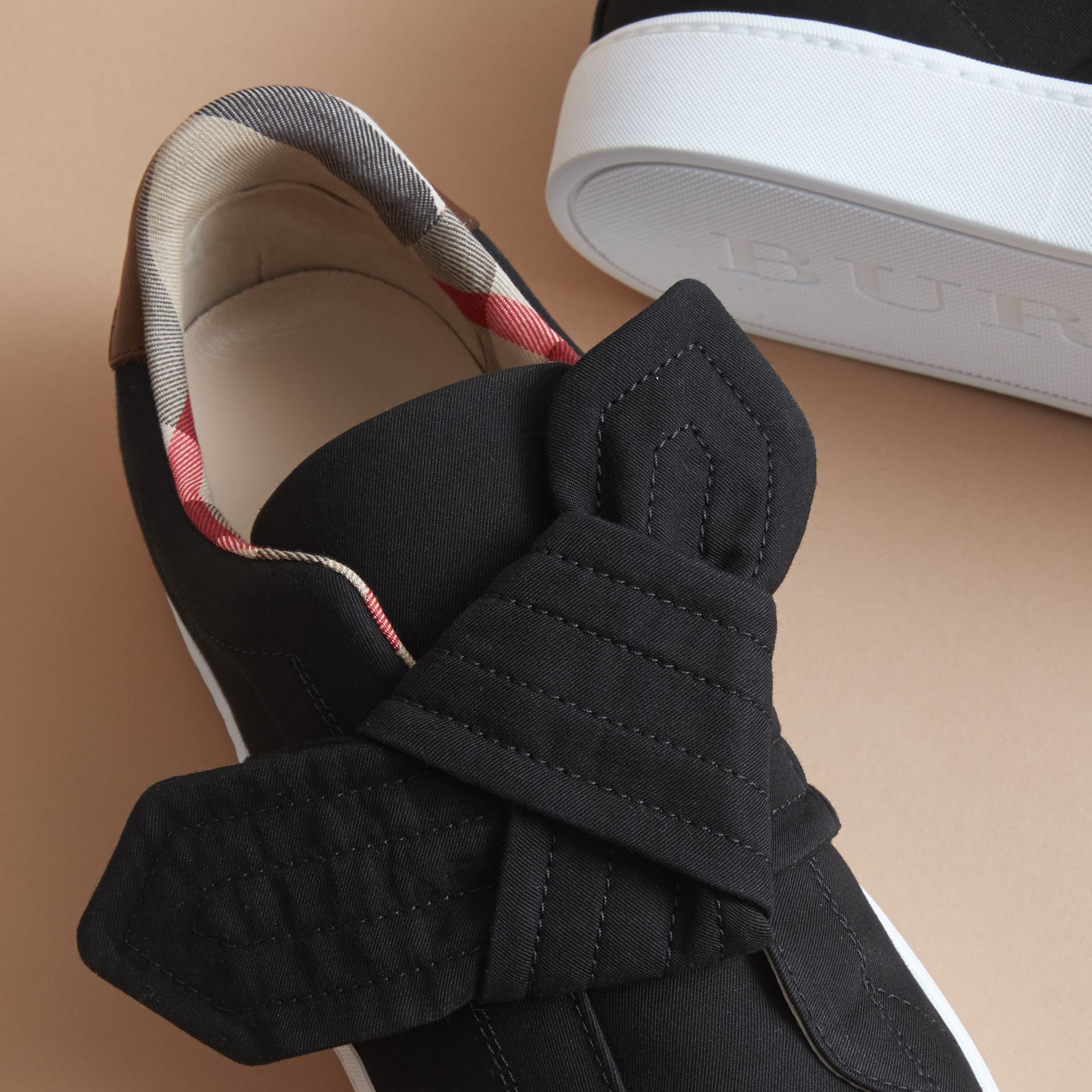 Trench Knot Cotton Gabardine Trainers in Black - Women | Burberry - gallery image 5