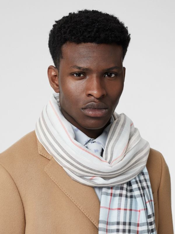 Icon Stripe and Vintage Check Wool Silk Scarf in Pale Blue | Burberry - cell image 3