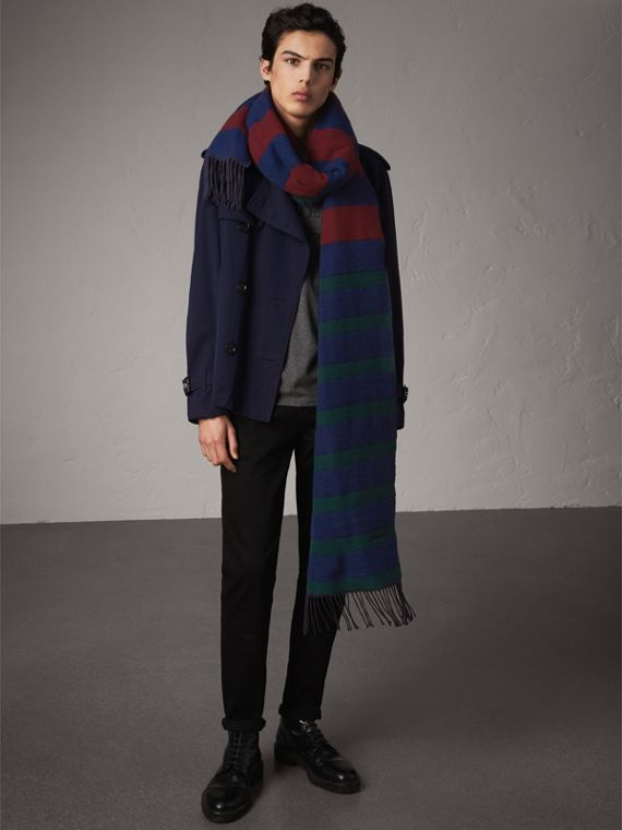 Colour-block Striped Wool Cashmere Scarf in Claret/navy | Burberry Hong Kong - cell image 3