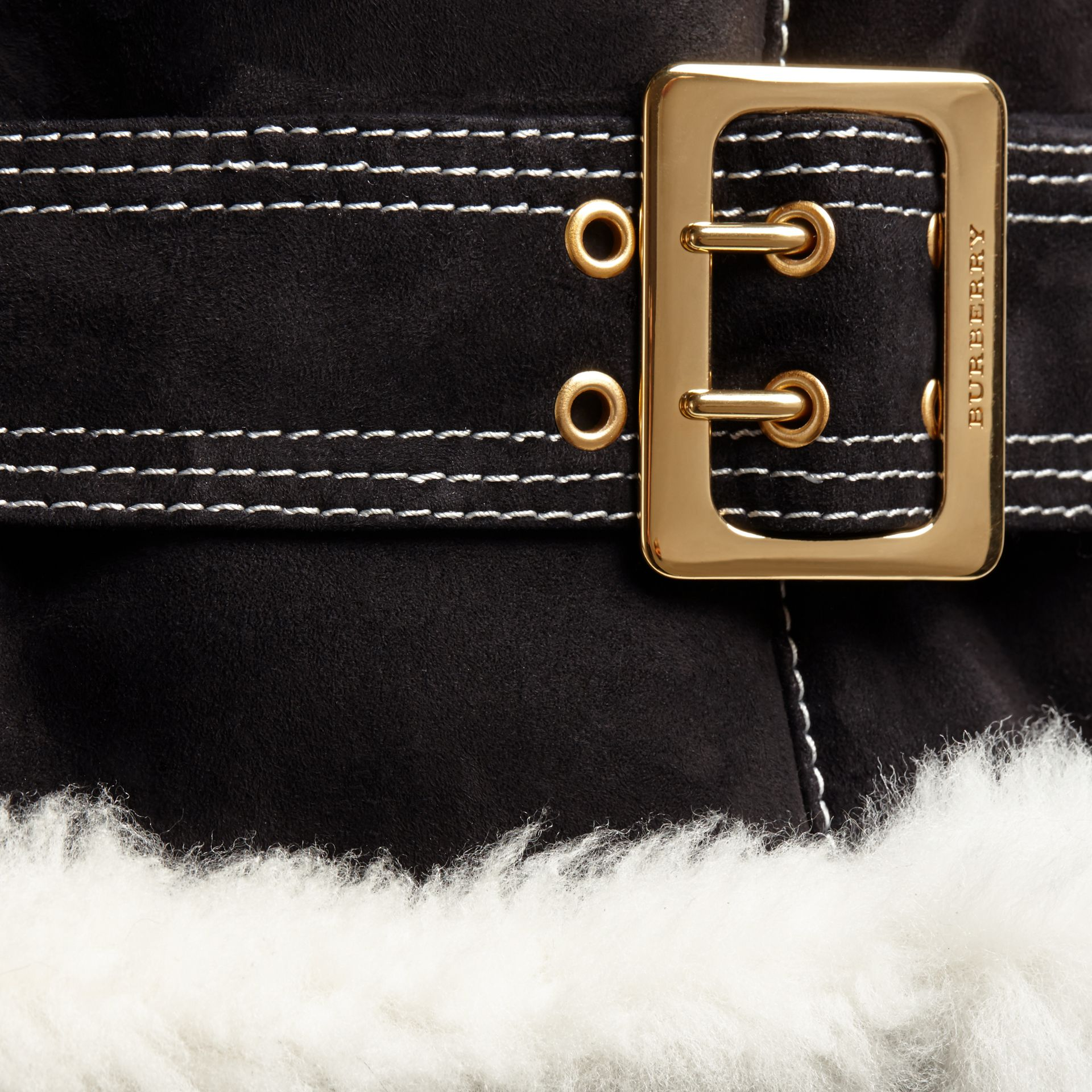 Black Fur-trim Suede and Shearling Aviator Jacket - gallery image 2