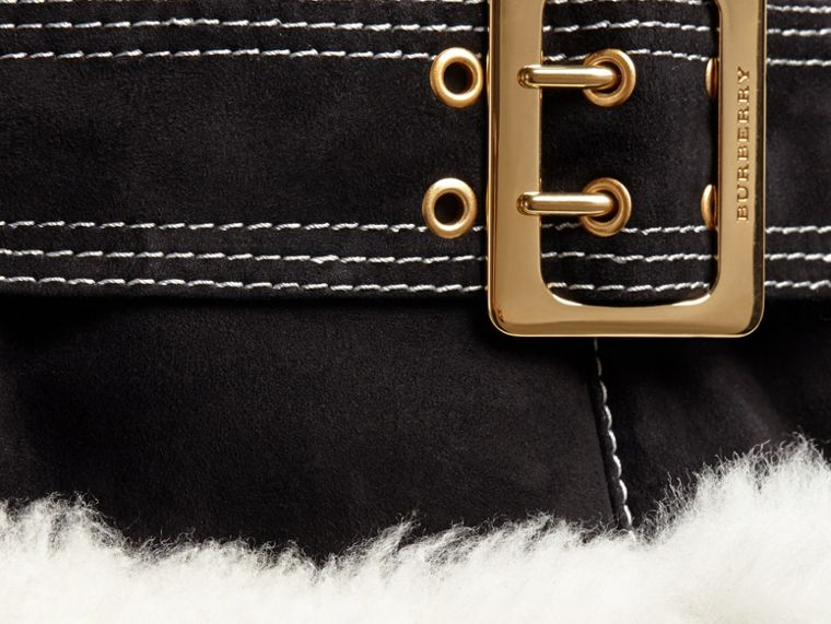 Black Fur-trim Suede and Shearling Aviator Jacket - cell image 1