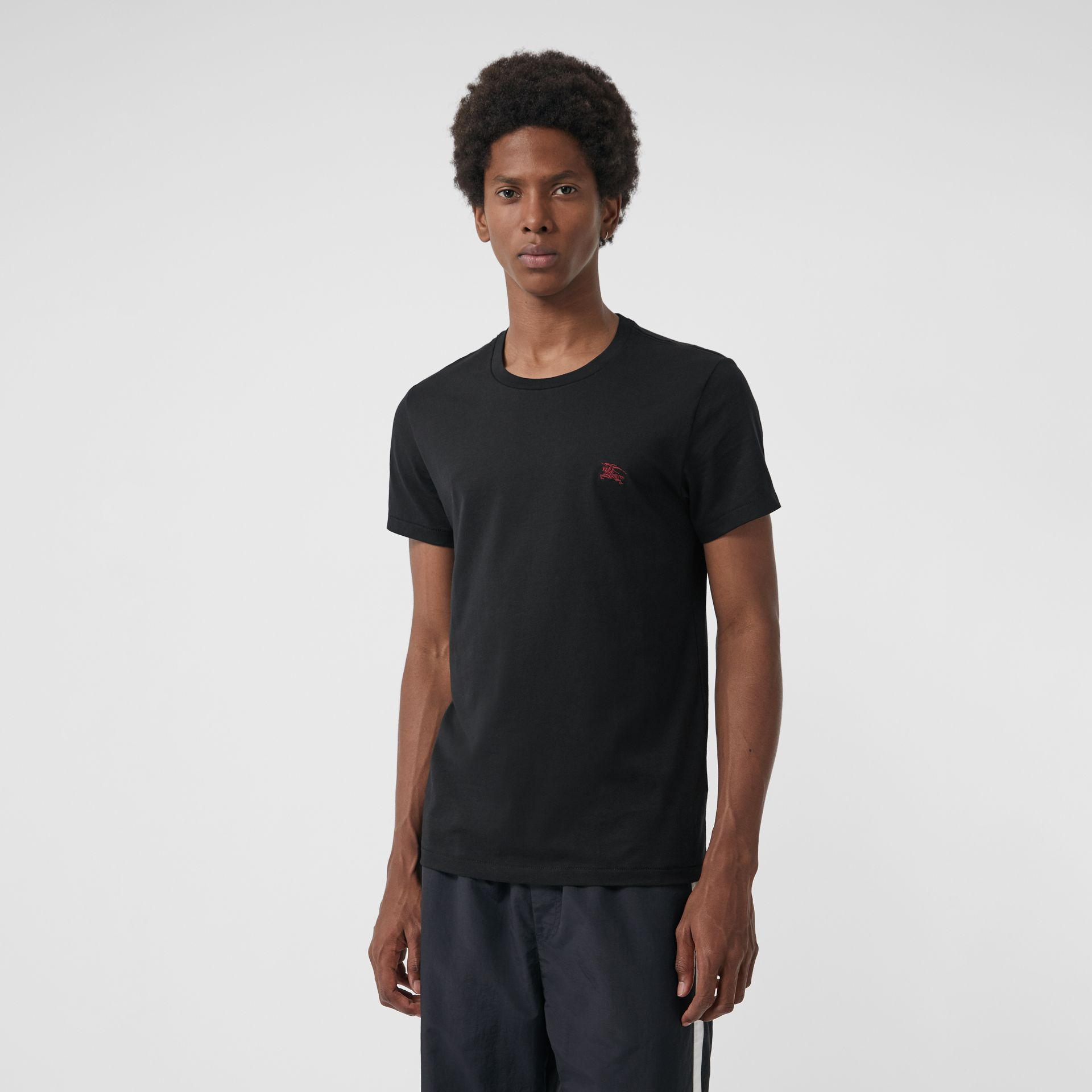 Cotton Jersey T-shirt in Black - Men | Burberry - gallery image 4