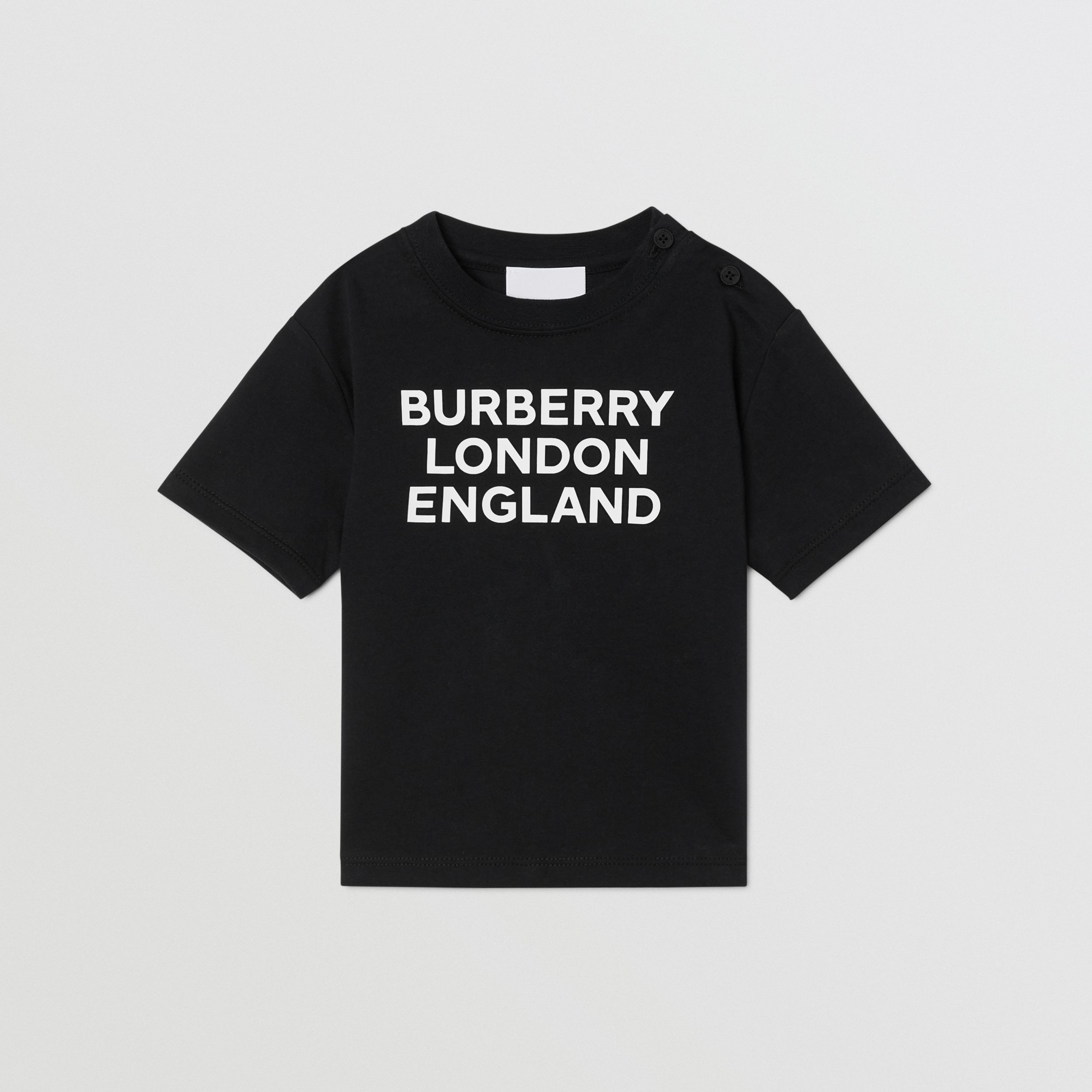 Logo Print Cotton T-shirt in Black - Children | Burberry - 1
