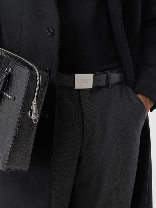 Reversible Plaque Buckle London Check Belt in Dark Charcoal/black - Men | Burberry Canada - cell image 2