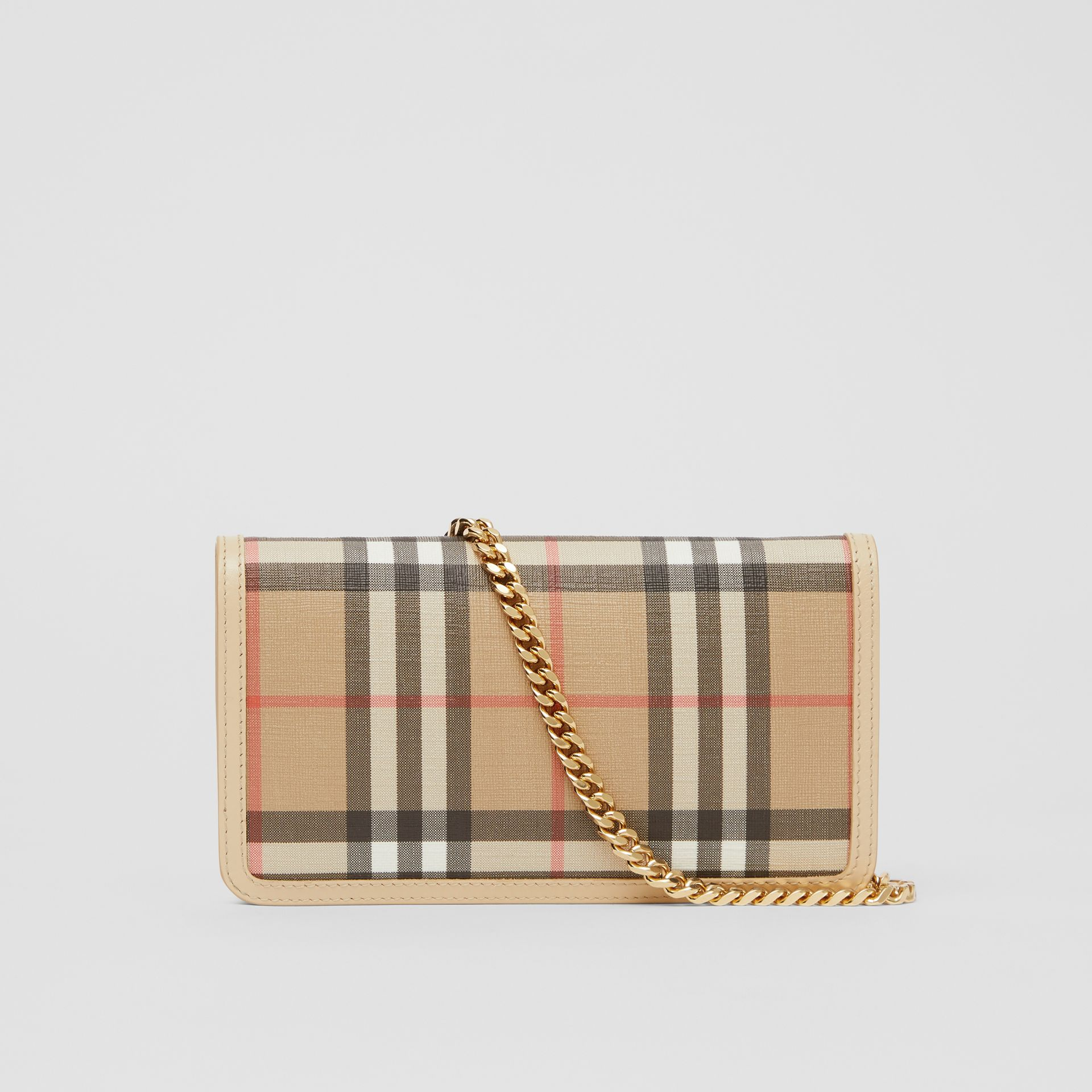 Vintage Check E-canvas Phone Wallet with Strap in Beige - Women | Burberry - gallery image 5