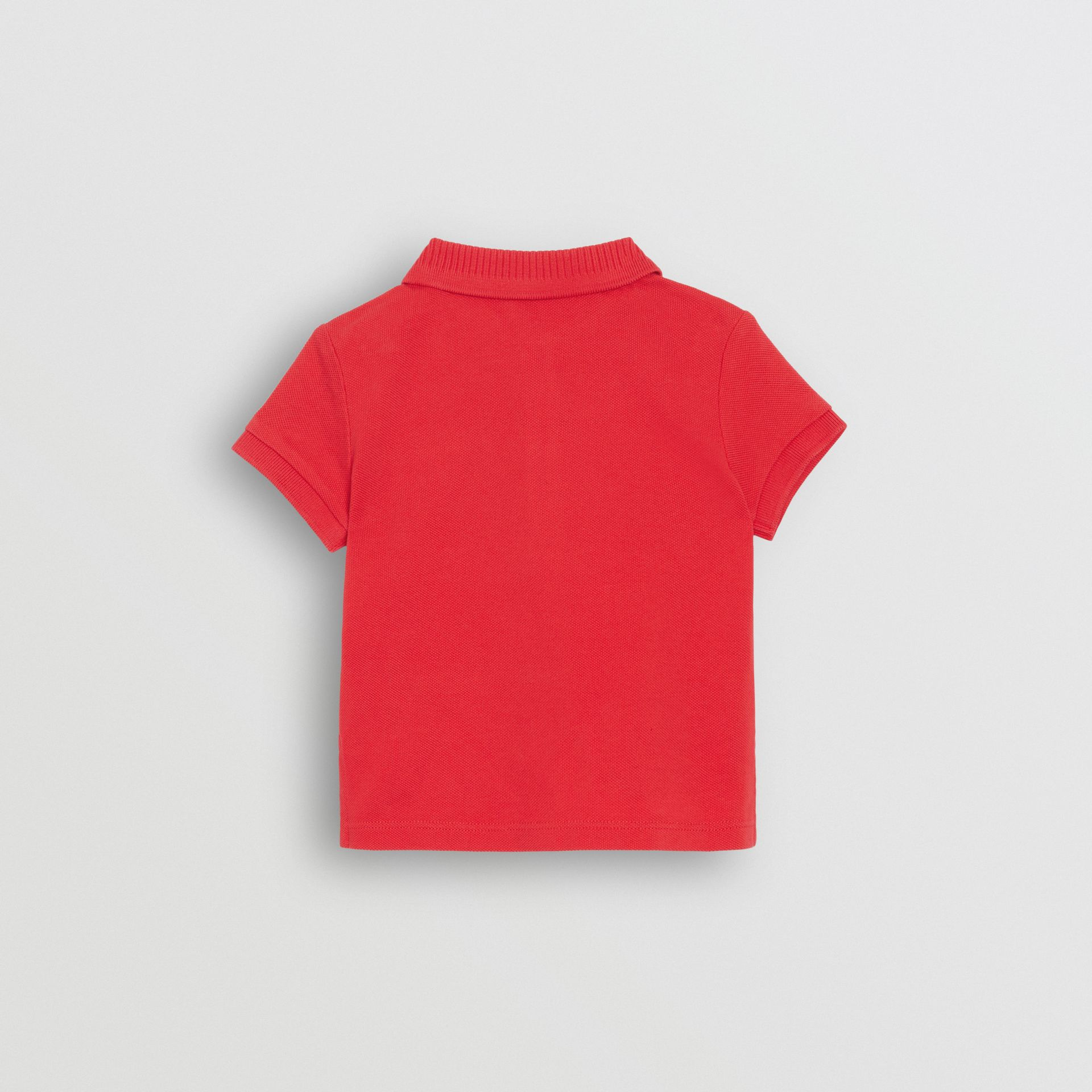 EKD Logo Cotton Piqué Polo Shirt in Bright Red - Children | Burberry United Kingdom - gallery image 3