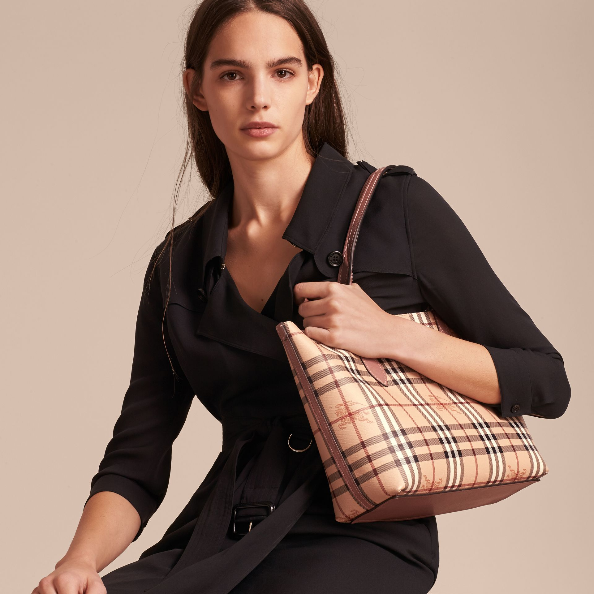 The Small Reversible Tote in Haymarket Check and Leather in Light Elderberry - Women | Burberry - gallery image 4