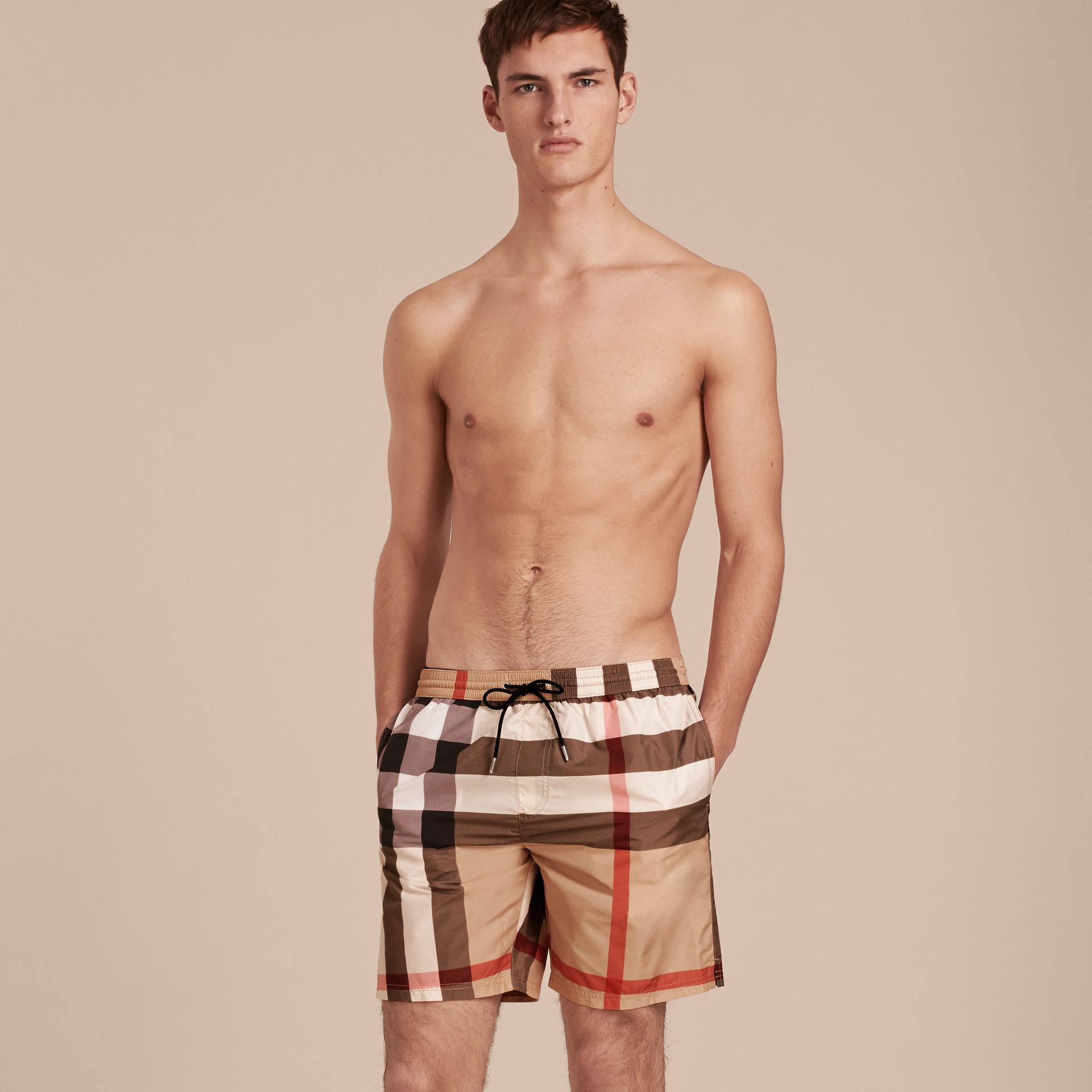 Check Swim Shorts Camel - gallery image 1
