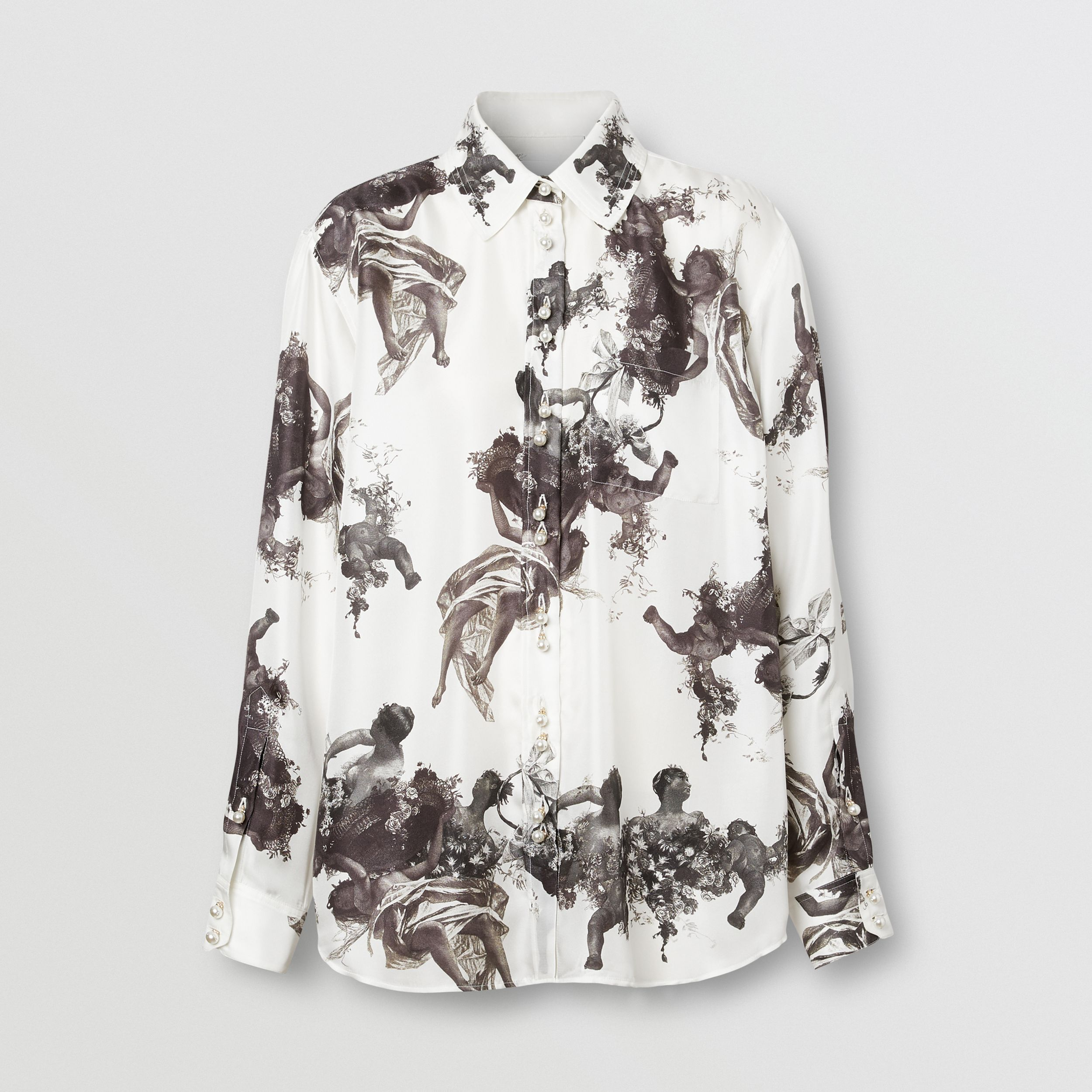 Angel Print Silk Twill Shirt in Black - Women | Burberry - 4